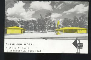 SPRINGDALE ARKANSAS FLAMINGO MOTEL ROADSIDE VINTAGE ADVERTISING POSTCARD