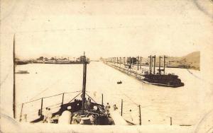 RPPC, Real Photo,  USS Nebraska, Entering Locks,  Canal Zone, Aug '19 Postcard