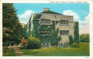 Wooster Ohio~College of Wooster~Ivy Covered Taylor Hall~1935 Postcard
