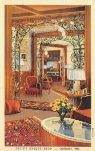 Oshkosh Wisconsin~Stein's Unique Shop Interior~1939 ART DECO Linen Postcard