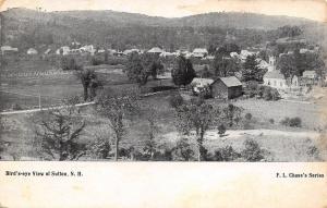 Sutton NH Birdseye Church, Rural Homes, Fields, Barn c1910