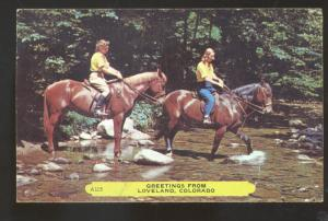 GREETINGS FROM LOVELAND COLORADO WOMEN ON HORSEBACK VINTAGE POSTCARD
