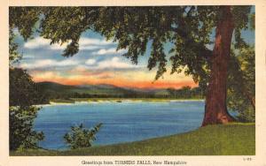 Turner Falls New Hampshire Sunset Waterfront Greeting Antique Postcard K89695