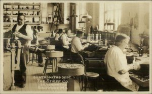 Baltimore MD Stieff Co Workers Silversmiths c1930 Real Photo Postcard xst