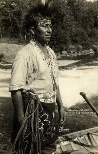 Native Indian Chief of the Menominees Reginald Oshkosh (1920s) Wessa RPPC