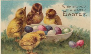 EASTER, 1900-10s; Chicks and bowl of colorful eggs