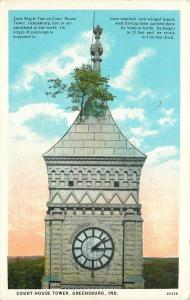Greensburg Indiana~Court House Clock Tower~Lone Maple Tree Sticks Out~1931 PC