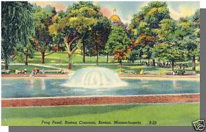 Boston, Massachusetts/MA/Mass Postcard, Frog Pond, Boston Connon
