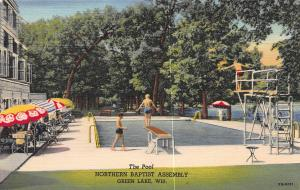 Pool, Northern Baptist Assembly, Green Lake, Wisconsin, Early Postcard, unused