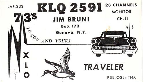 CB QSL - KLQ2591, jim Bruni, Geneva NY