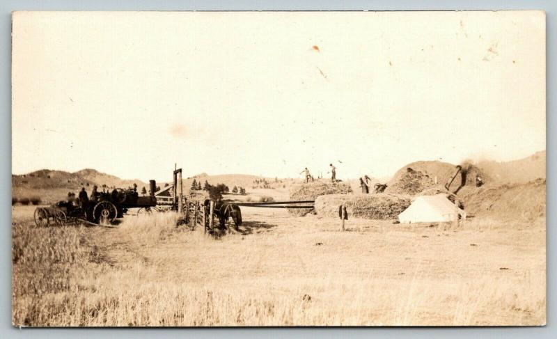 Real Photo Postcard~Farmers w/ Pitchforks Threshing~Steam Tractor & Thresher~'12