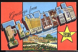 USA Postcard Large Letter Greetings From Ft Worth Texas CDS 1952