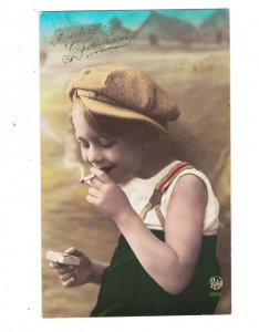 HI1092 NAUGHTY YOUNG BOY SMOKING A CIGARETTE MATCHES REAL PHOTOCARD HAND. COL
