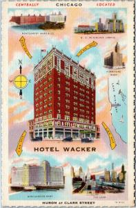 postcard IL, Hotel Wacker, Chicago linen with Merchandise Mart, Loop, more