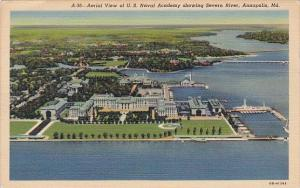 Maryland Annapolis Aerial View Of U S Naval Academy Showing Severn River