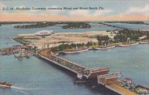 Yachts Moored Along Miami and Miami Beach Causeway Bridge and Goodyear Blimp ...