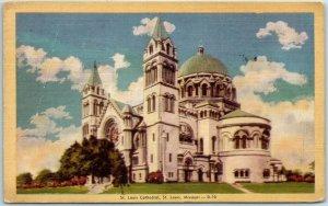 St Louis Missouri Postcard ST. LOUIS CATHEDRAL Church Building Dexter Linen 1946