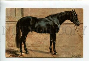 3160752 Black HORSE Stallion Stable by KOCH Vintage TUCK #588PC