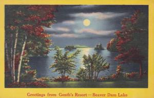 Wisconsin Greetings From Genth's Resort Beaver Dam Lake 1956