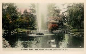 Vancouver BC~Fountain in Ornamental Lake~Ducks~Stanley Park~Colorized RPPC~1950s