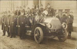Fire Engine Fighters Close-Up Hopedale MA Real Photo Postcard FINE++
