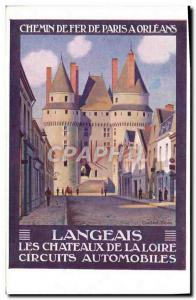 Old Postcard Paris Train Railroad has Orleans Road Racing Langeais