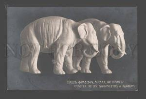 093963 Happy ELEPHANT as Lovers Figures Vintage PHOTO Russian