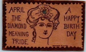 Vintage LEATHER Postcard A HAPPY BIRTHDAY - April the Diamond c1900s W.S. HEAL