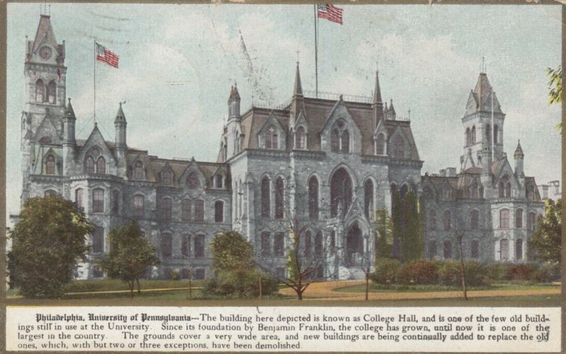 PHILADELPHIA, Pennsylvania , 1910; College Hall, University of Pennsylvania