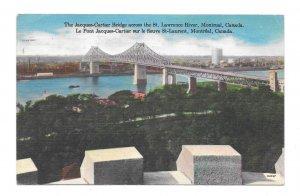 Canada Montreal Jacques Cartier Bridge St Lawrence River Vintage Linen Postcard