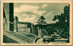 Vintage 1940s Kentucky Postcard MOREHEAD STATE TEACHERS COLLEGE BOULEVARD