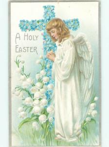 Pre-Linen Easter BEAUTIFUL ANGEL BESIDE CROSS OF FORGET-ME-NOT FLOWERS AB4013