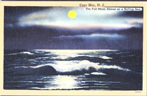 Cape May NJ - MOONLIGHT view over the ROLLING SEA, 1930/40s