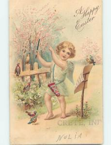 Pre-Linen easter ANGEL MUSIC CONDUCTOR WITH BATON & BIRDS ON SHEET MUSIC HL1082