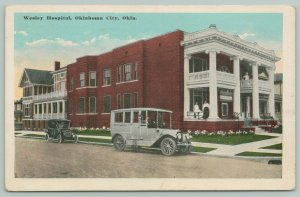 Oklahoma City~White Ambulance @ Wesley Hospital~Nursing Staff on Porches 1916 PC