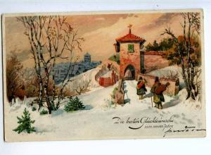 240466 NEW YEAR Street Musician near CHURCH Vintage postcard