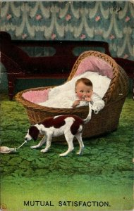 Postcard Mutual Satisfaction Humor Funny Baby Puppy Dog Copyright 1910  956