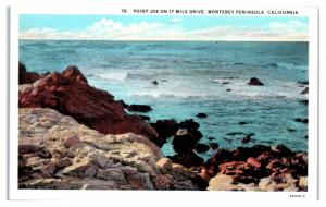 Point Joe on 17 Mile Drive, Monterey Peninsula, CA Postcard