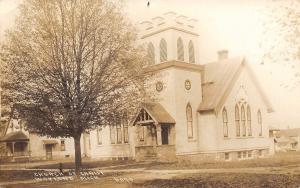 Wayland Michigan~Church of Christ Meets There~Home Next Door~Sepia RPPC 1915