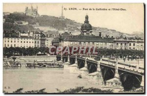Old Postcard Lyon the Guillotiere Bridge and & # 39Hotel God
