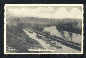 NAVARRE OHIO THE OHIO CANAL AND TUSCARAWAS RIVER BOATS VINTAGE POSTCARD