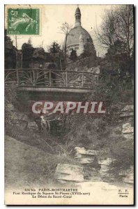 Postcard Old Rustic Bridge Paris Montmartre Square St Pierre XVIII Dome of Sa...