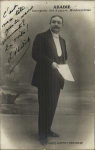 Autograph - Abadie - Interprete des Auteurs Montmartrois Real Photo Postcard