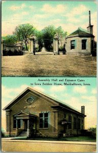 Marshalltown, IA Postcard Assembly Hall & Entrance Gates to IOWA SOLDIERS HOME