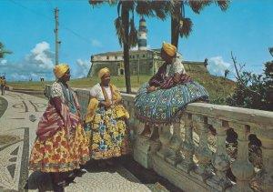 Salvador Traditional Fashion Costume Outside Lighthouse Brazil Postcard