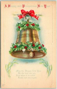Vintage HAPPY NEW YEAR Greetings Postcard GOLD BELL / Holly - 1922 Cancel
