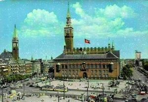 Netherlands Copenhagen The Town Hall Square Trams Vintage Cars Postcard