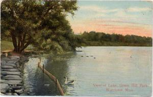 View of the Lake at Green Hill Park - Worcester, MA Massachusetts - pm 1910