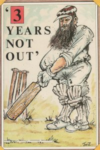 Cricket Wicket Not Out Huge Beard Comic Limited Edition Postcard