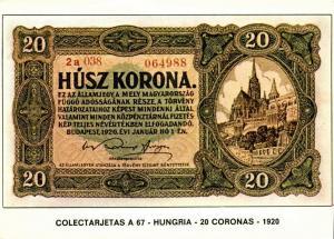 hungary, Husz 20 Korona 1920, BANKNOTES Modern Money Postcard